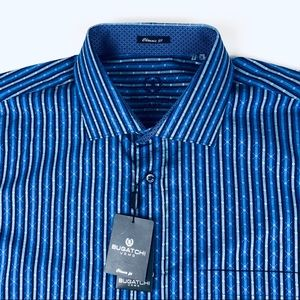 Bugatchi Uomo Men's button dress shirt blue XL New